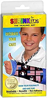 Shrinkins The Healing Art WASHABLE REMOVABLE Cast Decorating Cover Kit~ Fun, Fashionable Creative Shrink Wrap Decorations for Arm & Leg Casts ~ Uses No Adhesive – ADULT & CHILD