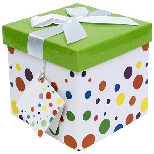Gift Box 7x7x7 Capri Pop up in Seconds Comes with Decorative Ribbon Mounted on The lid A Gift Tag and Tissue Paper  No Glue or Tape Required