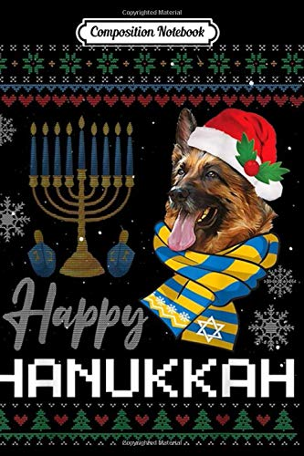 Composition Notebook: Happy Hanukkah German Shepherd Dog Ugly Hanukkah Sweater Journal/Notebook Blank Lined Ruled 6x9 100 Pages