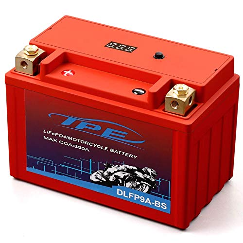 Lithium Motorcycle Battery, YTX9A-BS 12V Lithium Battery with Smart Battery Management System, LiFePO4 Engine Start Battery6AH 350 CCAStarting Batteries for Motorcycles and ATVs-DLFP9A-BS