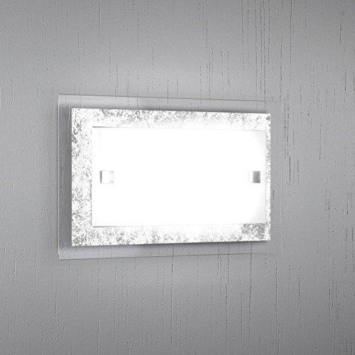 Applique a muro BRICKA-P 30 cm Lampada parete moderna design 1 Luce vetro satinato Foglia Argento soggiorno, corridoio, scale