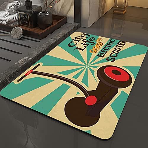 Alfombra Antideslizante Alfombra,Decoración vintage, icono de scooter eléctrico Segway en primer plano de,Espuma de Memoria Piso Baño Alfombra Absorber Alfombra de baño Suave Alfombra de baño 50x80 cm