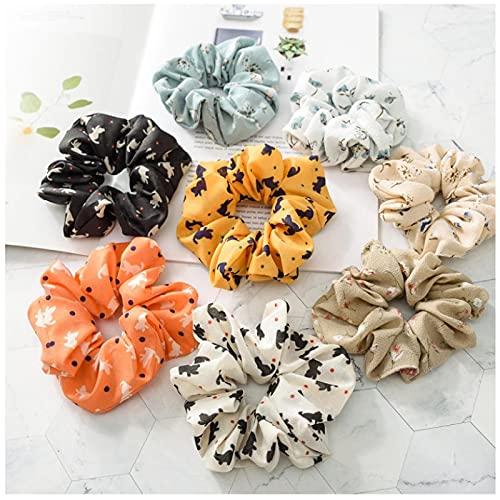 Lindo gato estampado Floral Scrunchie suave bandas elásticas para el cabello para mujeres accesorios para el cabello soporte de cola de caballo cuerda para el cabello dibujos animados sombrero