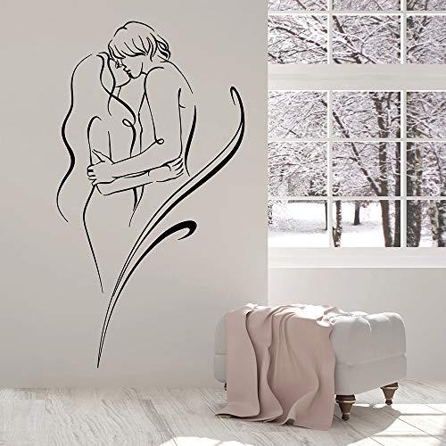 supmsds Nackter Mann Und Frau Wandaufkleber Liebe Sex Romance Vinyl Wandtattoo Nordic Dekoration Schlafzimmer Dekor Zubehör 63X115 cm