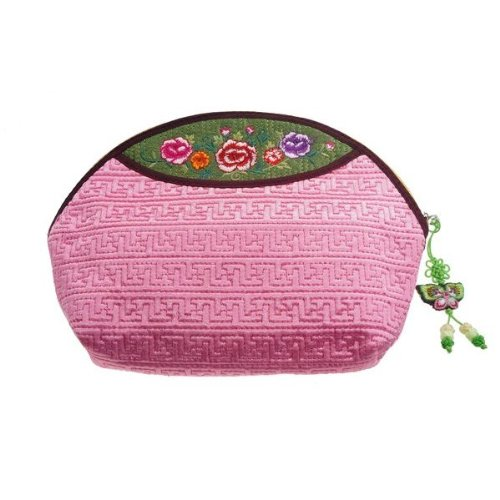 Beautiful Pink Cosmetic Pouch Made of Korean Traditional Fabric. Fine Embroidery of Flower. Zipper Closure. Women's. Good Quality. Durable.