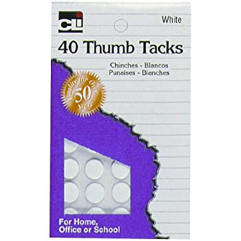 Charles Leonard Thumb Tacks, On Safety Cards, Painted White, 40-Pack (83535)