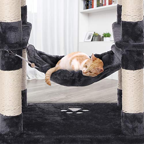 FEANDREA 59.3 Inch Cat Tree Condo with Scratching Post Kitty Tower Pet Playhouse, Dark Gray UPCT85G