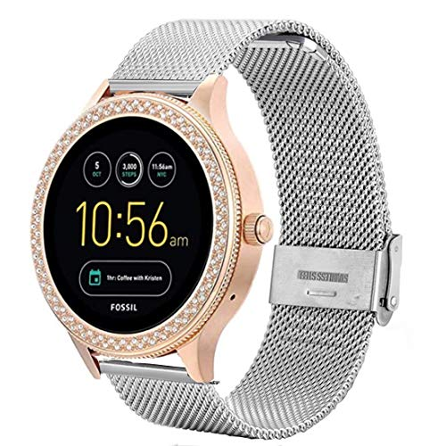 Compatible with Fossil Q Venture Watch Band,18mm Mesh Woven Stainless Steel Strap Watch Band for Fossil Women's Gen 4 Venture HR/Gen 3 Q Venture/Fossil Women's Gen 4 Sport Silver