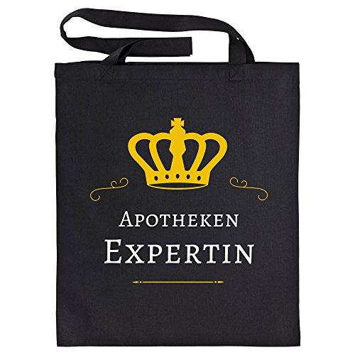 Baumwolltasche Apotheken Expertin schwarz - Lustig Witzig Sprüche Party Einkaufstasche