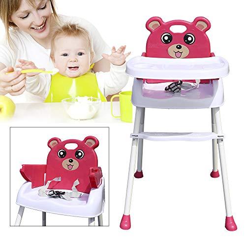 Yunrux 4 in 1 Klappstuhl Kinderstuhl Faltstuhl zusammenklappbar Kinder Hochstuhl mit Gurt, Tisch Verstellbar und Klappbar Pink