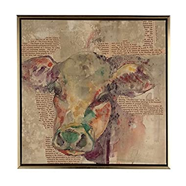 Boston Warehouse Hand Embellished Canvas Art, Newsprint Collage with Cow, 14  x14
