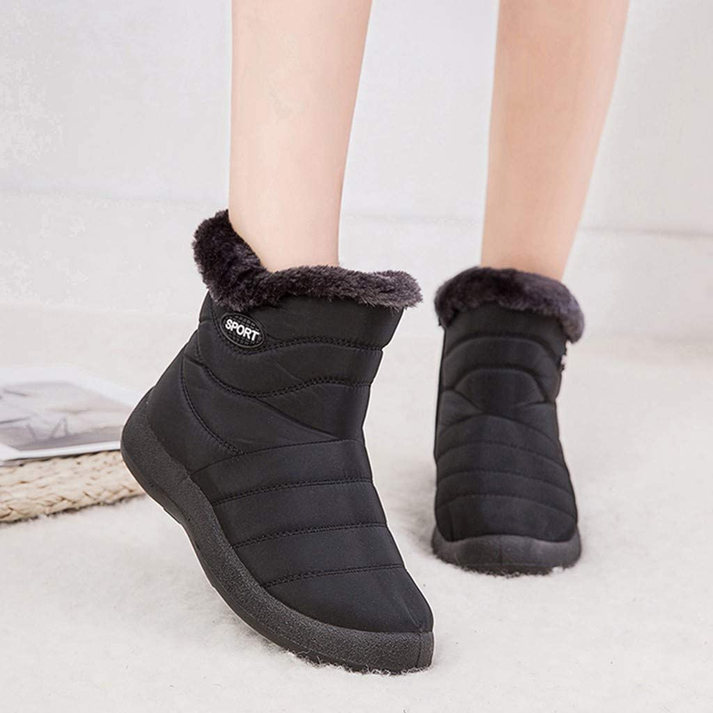 Details about  /Women Ankle Boots Flat Heel Zipper Ladies Warmers Round Toe Winter Shoes Sizes