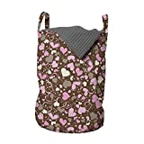 Lunarable Hearts Laundry Bag, Surrealism Inspired Valentines Day Illustration Dotted Lines Swirls and Hearts, Hamper Basket with Handles Drawstring Closure for Laundromats, 13' x 19', Brown Cream Pink