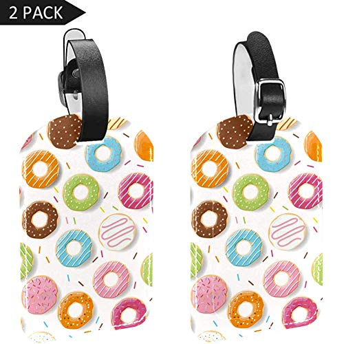 Colored Donuts Luggage Tags, Synthetic Leather Name ID Labels with Back Privacy Cover for Travel Bag Suitcase,2 Pack
