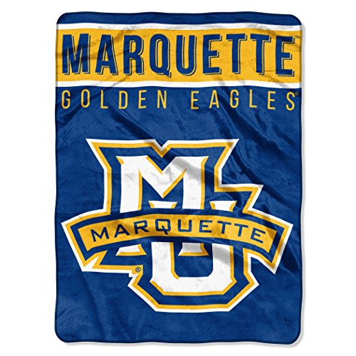 The Northwest Company Officially Licensed NCAA Marquette Golden Eagles Basic Plush Raschel Throw Blanket, 60' x 80', Multi Color
