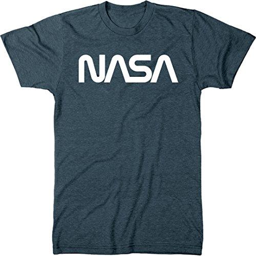 NASA Vintage White Worm Logo Men's Modern Fit Tri-Blend T-Shirt (Indigo,...
