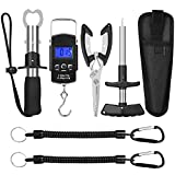 EEEKit Fishing Tool Kit Includeds Fishing Pliers with Sheath, Fish Hook Remover Tool, Fish Lip Gripper, Digital Fish Scale and 2 Fishing Lanyards, Fly Fishing Gear for Fishmen
