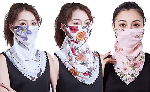EOZY 3pcs/Set Women Sun Face Mask Earloop Neck Gaiter Scarf Bandanas for UV Protection Dust Wind Motorcycle