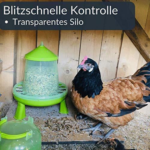 Futterautomat mit Füßen, 2, 4 oder 8 Kg grün I Hühner, Geflügel Futterspender I Automatischer Spender für Hühnerfutter I Futterstation aufhängbar I Wasserdichter Automat I Zubehör Zucht, Farming - 5