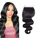 12A Brazilian Body Wave Lace Closure 4X4 Free Part Swiss Lace Closure Hair Brazilian Virgin Human Hair Natural Black Top...