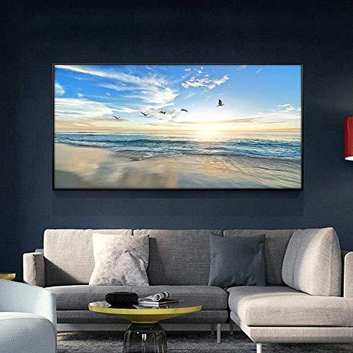 poster Sunsets Natural Bird Blue Sky Mar Playa Paisaje Posters e impresiones Lienzo Pintura Panorama Imagen de arte de pared para sala de estar 40x60cm (Sin marco)