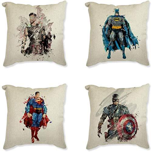 Kkoqmw Funda de Almohada Juego de 4 Piezas de Lino Almohada de aro Serie de superhéroes de Dibujos Animados Superman Capitán Batman Funda de cojín Decorativa