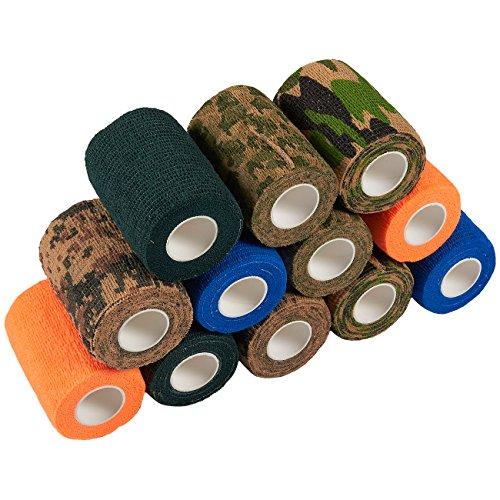 Self Adherent Wrap - 12er Packung kohäsives Bandage-Klebeband für Erste Hilfe, Sport, Handgelenk, Knöchel in 6 verschiedenen Tarn- und Volltonfarben, 7,6 cm x 1,9 m