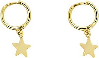 Pendientes aro dorado con estrella lisa