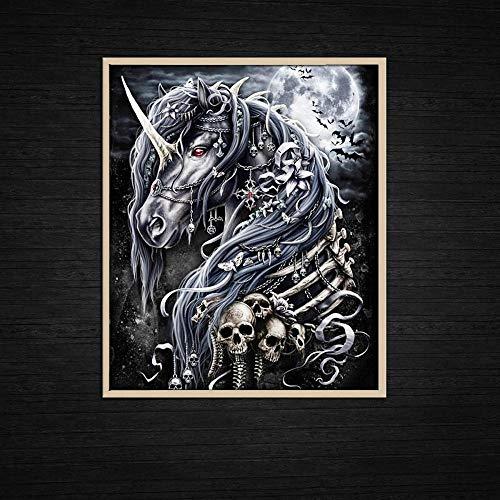 qggbgv Pinturas Modernas Arte de Pared Luna Unicornio y Esqueleto Caballo decoración del hogar decoración del hogar Lienzo Pintura Cartel habitación de niño