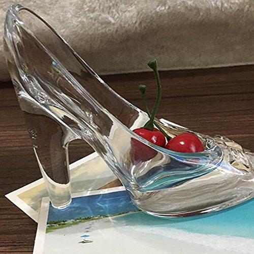 Monbedos 1 Unids Cristalino de Moda de tacón Alto Regalos de Cristal Transparente Deslizador Adornos Mujeres de Navidad Regalos de Cumpleaños Zapatos de Cristal de Cenicienta