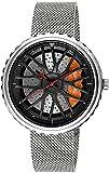 ZFAYFMA Reloj para Hombres, diseño Hueco Cuarzo Reloj de Coche Deportivo a Prueba de Deportes Acero Inoxidable 3D Rim Hub Watch Reloj de Regalo Reloj de Reloj Apariencia Silver