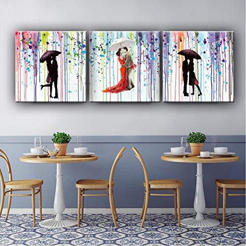 TBWPTS Canvas Schilderij Abstract schilderij romantische kus liefhebbers onder paraplu Canvas foto's Wall Art handgeschilderde olieverfschilderij Home Decor Gift