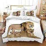 Bedclothes-Blanket Juego sabanas de Cama 150,Impresión de la Mano de Tres Piezas del Regalo de Cama Digital de león Digital-3_200 * 225