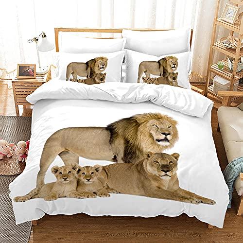 Bedclothes-Blanket Juego sabanas de Cama 150,Impresión de la Mano de Tres Piezas del Regalo de Cama Digital de león Digital-3_155 * 220