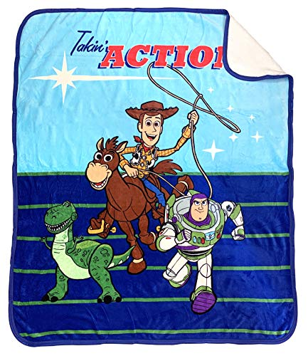 Disney Pixar Toy Story Takin Action Sherpa Throw Blanket - Measures 50 x 60 inches, Kids Bedding Features Woody & Buzz Lightyear - Fade Resistant Super Soft - (Official Disney Pixar Product)