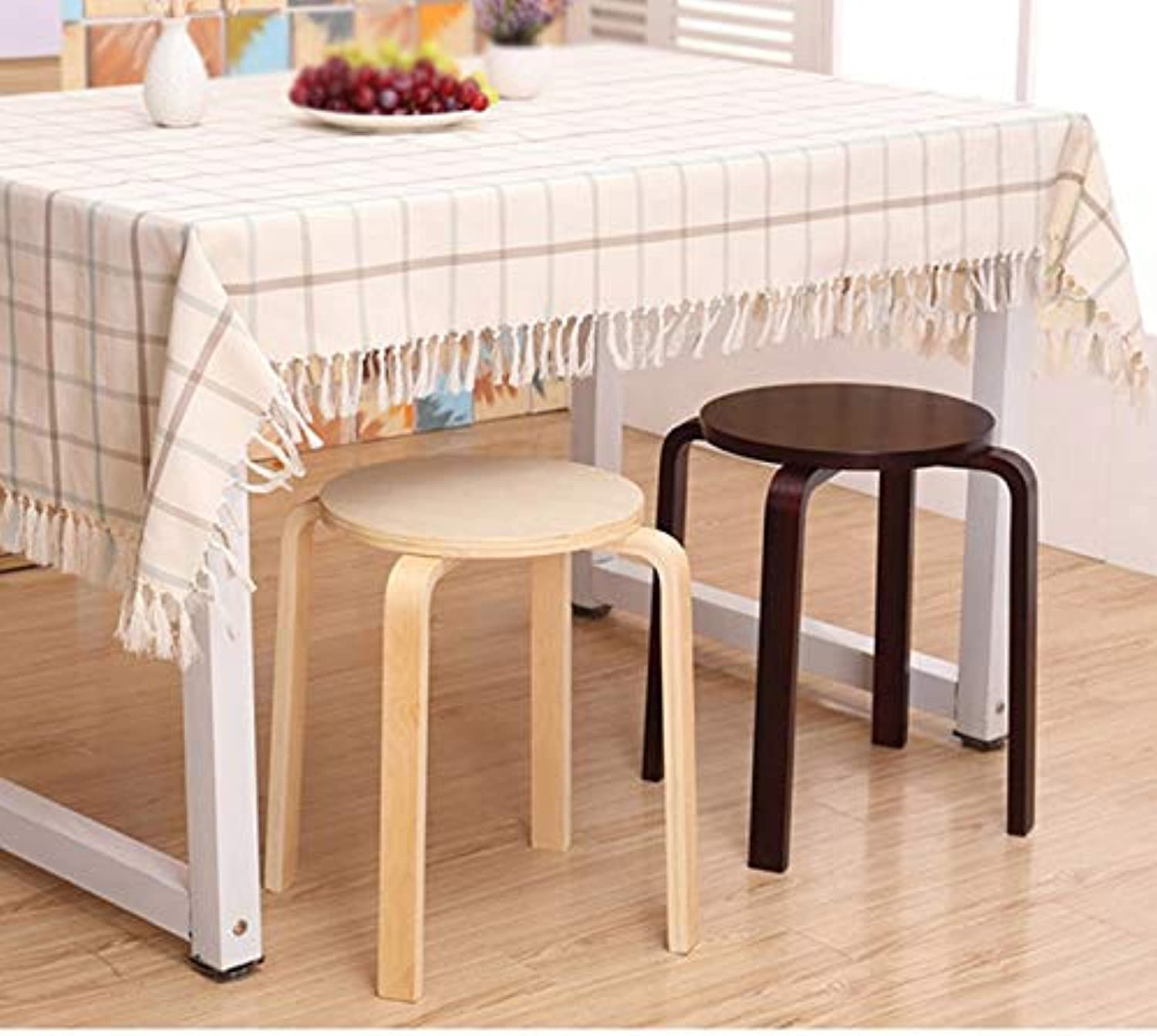 Stool Home Solid Wood Stool Table Stool Small Bench Chair Non-Plastic Dining Chair Black Simple Single Stool Round Wooden Bench (color   Wood color)