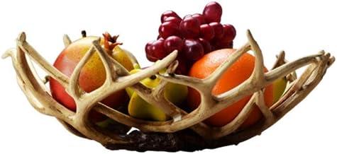 XinQing-Storage basket Fruit Plate Living Room Drain Fruit Basket Creative Antler Resin Imitation Wood Snack Plate Storage...