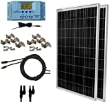 WindyNation 200 Watt Solar Panel Kit: Two pcs 100W Solar Panels + P30L LCD PWM Charge Controller + Solar Cable + Wiring Connectors...
