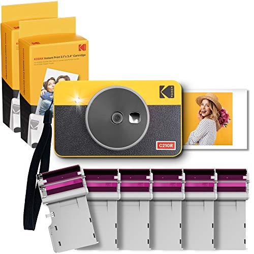 Kodak C210R Mini Shot Combo 2, Sofortbild-Kamera und Taschendrucker, iOS und Android, Bluetooth, 54x86 mm, 68 Blatt, 6 Patronen, Gelb