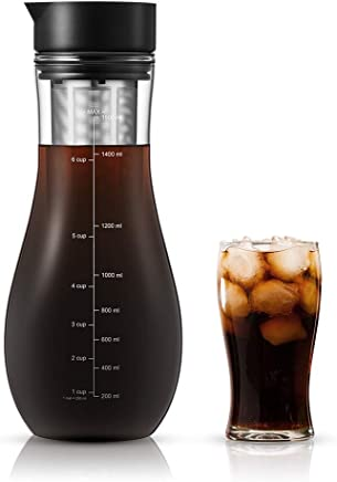 Soulhand Cold Brew Coffee Maker Cold Brew Pitcher Airtight Design Smooth Fresh Ice Tea Pitcher 48oz/1.5L Glass Bottle with Reusable Stainless Steel Filter