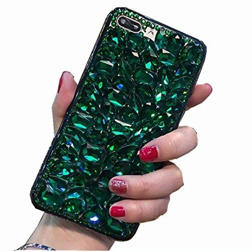 Miagon Glänzend Hülle für Samsung Galaxy S10 Lite,3D Handschlaufe Glitzer Bling Strass Hülle Diamant Transparent Handyhülle Bumper Case Tasche Schutzhülle,Grün