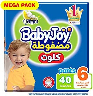 Babyjoy Cullotte Pants Diaper, Mega Pack Junior XXL Size 6, Count 40, 16+ KG