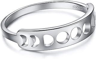 خواتم أنجل من الفضة الاسترليني القمر للنساء 925 خاتم فضة القمر لا يسبب الحساسية الرص بيان حجم 6 7 8 9 10 مع علبة هدايا