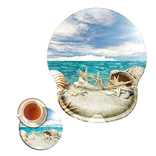 Mouse Pad with Wrist Support Gel Ergonomic Gaming Mousepad with Wrist Rest for Laptop Seashells Beach Computer Home Office Working Mouse Mat + A Cute Coffee Pad