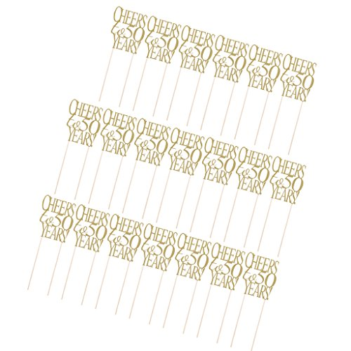 Dovewill Pack of 20 Glitter Paper 21/30/50th Cake Topper Birthday Anniversary Home Party Cake Pick Silver/Gold - Cheers to 50 Years Gold, One Size