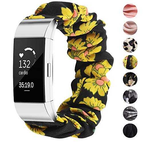 TOYOUTHS Compatible with Fitbit Charge 2 Bands Scrunchie Women Elastic Stretchy Cloth Fabric Strap Pattern Printed Bracelet Sport Replacement Charge 2 HR Wristband Accessories (Sunflower, Small)
