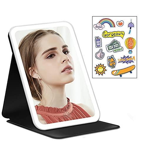 Espejo Maquillaje de 3 Colores y Estuche de Cuero PU, Espejo de Maquillaje con Soporte Ajustable, Atenuación de Sensor Táctil, Espejo Cosmético de Mesa Portátil