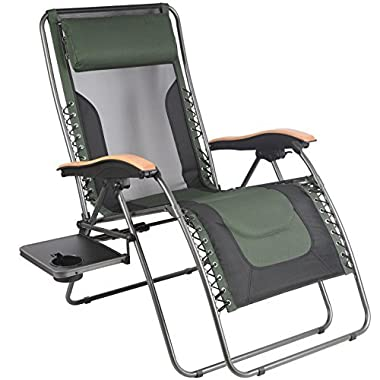 PORTAL Oversize Zero Gravity Recliner Chairs with Pillow and Cup Holder, Patio Lounger Chairs, Supported 350 lbs