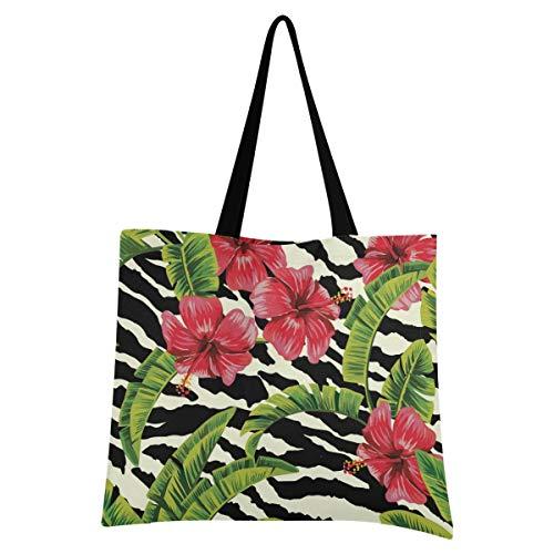 XIXIXIKO - Bolsa de lona para mujer, diseño de flores tropicales, con hojas de palma, ligera, para playa, viajes, para mujer