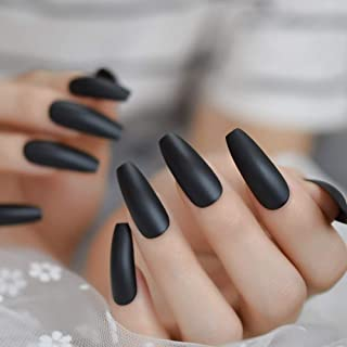 CoolNail Fashion Solid Black Coffin Nail Tips Flat Ballerina Frosted Press on False Nails Matte Fake Fingers nails for Party Salon Home